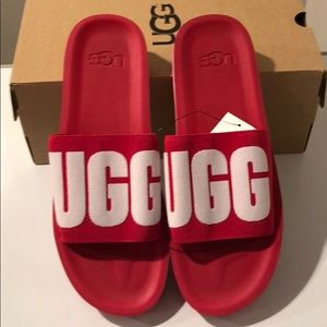 💝New Ugg Zuma Graphic Pink slides sandals sz 12